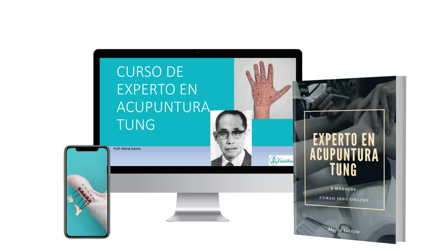 presentacion curso experto acupuntura tung online con modelo de libro y vista en movil y ordenador